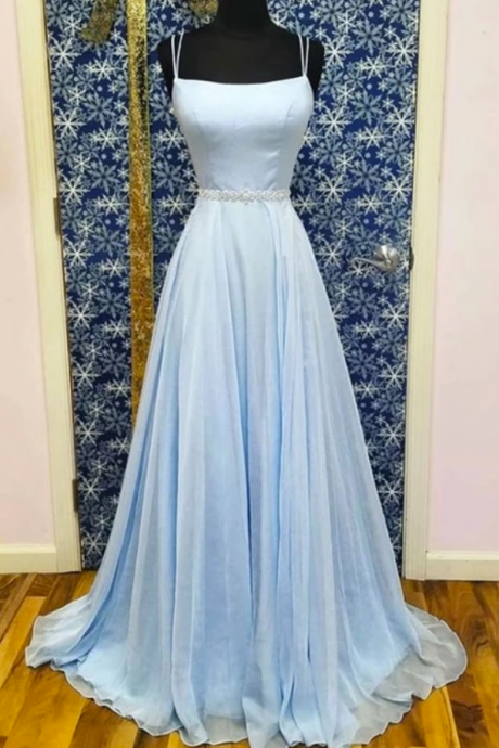 Baby Blue Satin Chiffon Beaded Waistline Long Prom Dress