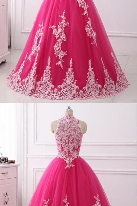 Stylish Hot Pink Tulle Long Quinceanera Dress, Long Sweet 16 Prom Dress
