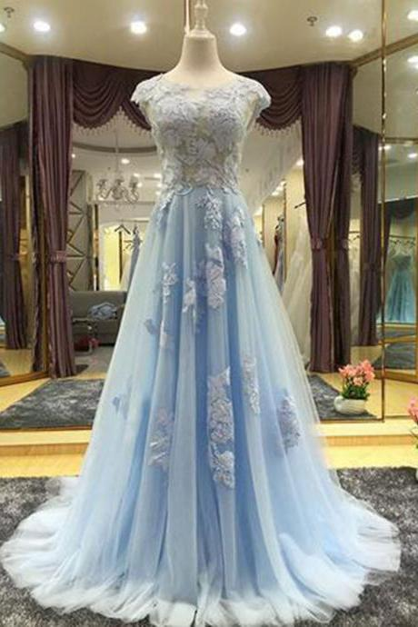 Elegant sky blue chiffon cap sleeve long senior prom dress with applique