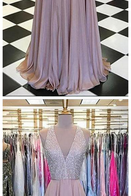 Champagne chiffon V neck long sequins evening dress, senior prom dress
