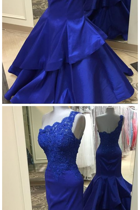 Prom Dresses, Sexy Mermaid Prom Dress, Royal Blue Prom Dresses, Prom Dress with Ruffles, Lace Prom Dresses Long, One Shoulder Prom Dress, Prom Dresses, Glamorous Prom Dress, Backless Mermaid Prom Gowns, Custom Made