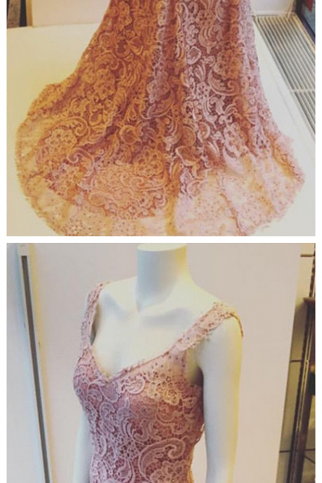 Elegant pink lace prom dress, v-neck mermaid prom dresses,backless evening gowns