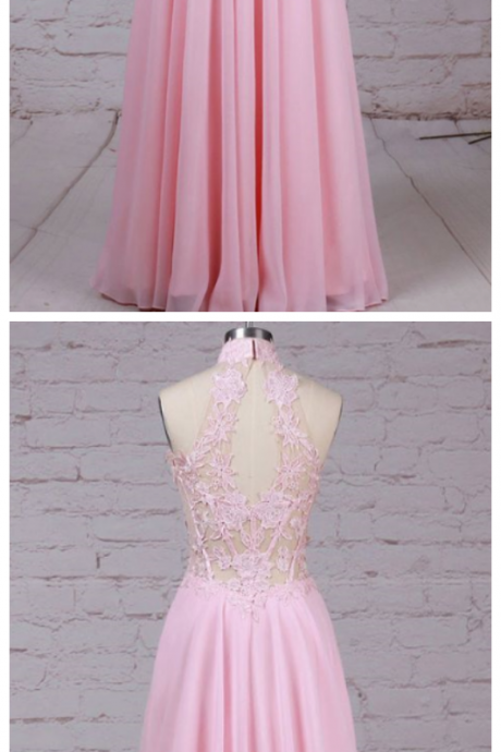 Chiffon evening gowns,sexy ball gowns, custom made prom,new fashion, Tulle High Neck Floor-length A-line Appliques Lace Prom Dresses