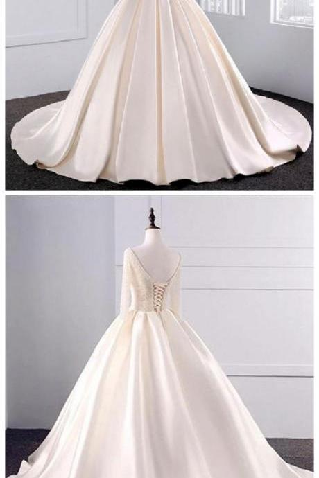 Fashion Simple Beige Wedding Dresses Full Sleeve Modest Lace Satin Bridal Gowns for Wedding
