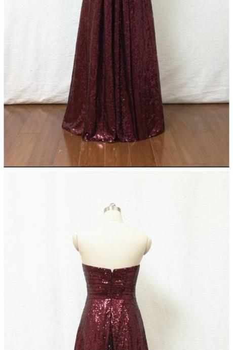 A-line Sweetheart Burgundy Sequin Long Bridesmaid Dress