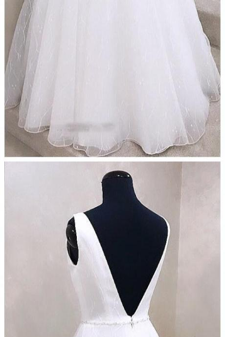 Adore Outfit Fashion V neck White Wedding Dress Open Back Bridal Gown