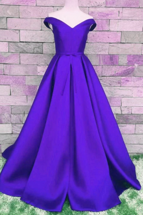 Satin A-Line Off Shoulder Prom Dress, Prom Dress