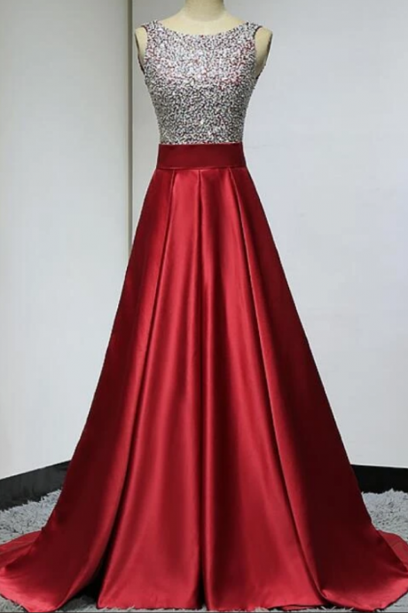 Lovely Satin Sequins Backless Satin Long Prom Dress, New Prom Dress