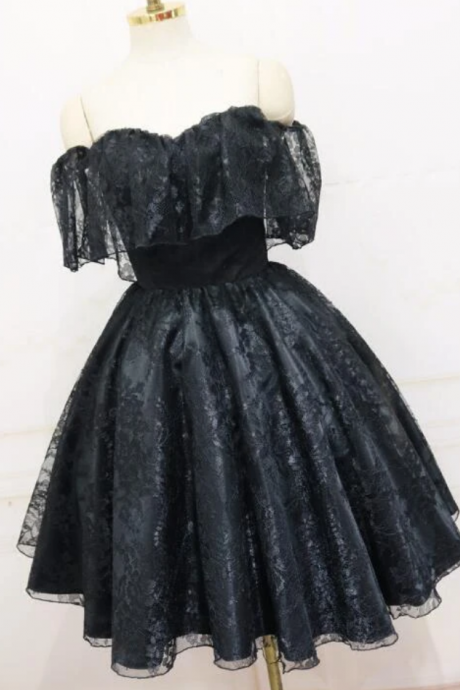 Black Off Shoulder Lace Short Party Dress, Black Homecoming Dress