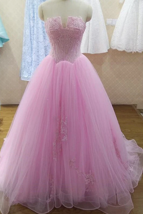 Tulle Ball Gown Party Dress, Long Sweet 16 Dress