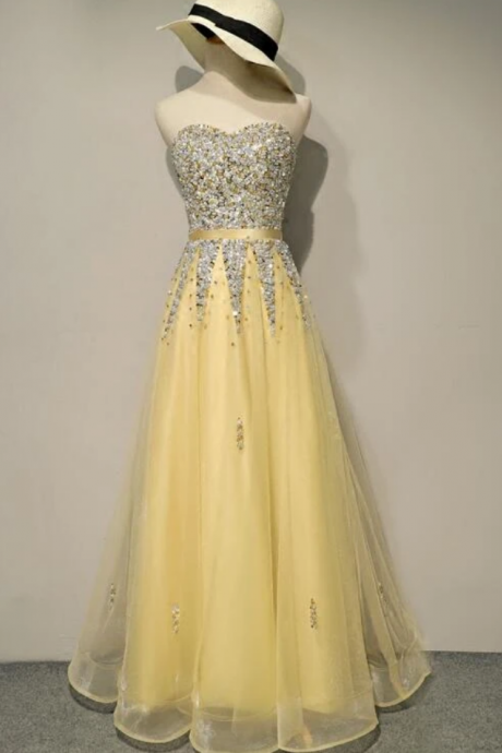 Light Yellow Sweetheart Sequins Tulle Long Prom Dress, New Party Dress