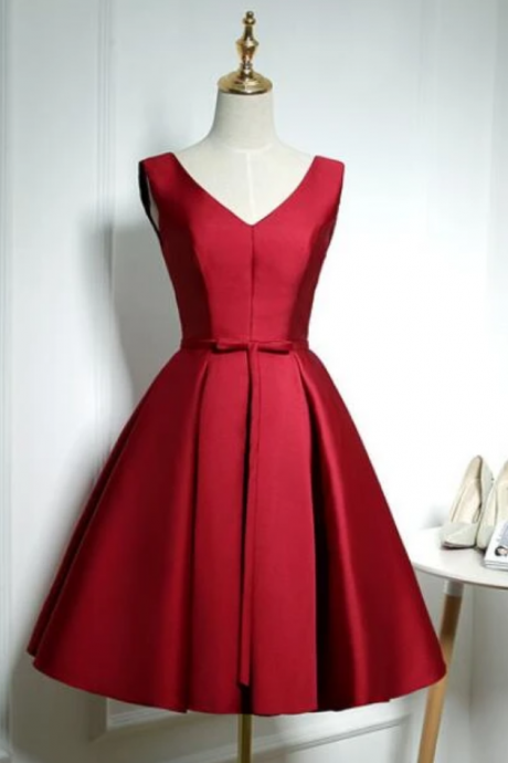 Lovely Satin Homecoming Dress, Short Bridesmaid Dress