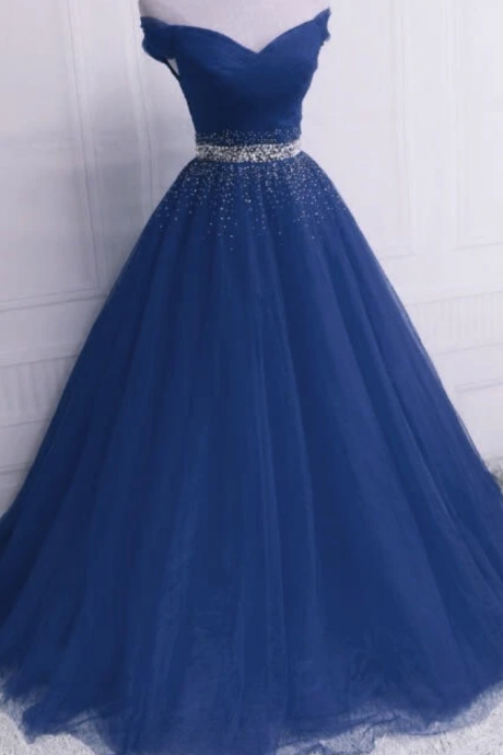 Beautiful Tulle Long Sweetheart Beaded Party Dress, Formal Dress