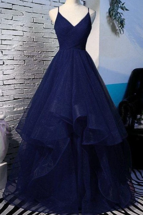 Beautiful Tulle V-Neckline Straps Long Party Dress, Formal Gown