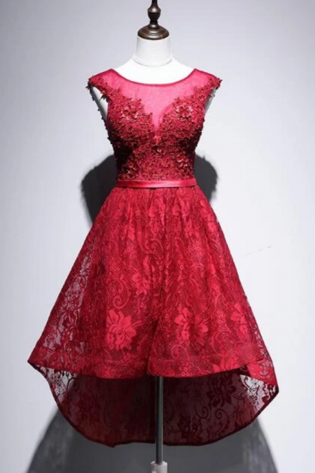 Beautiful High Low Lace Party Dress, High Low Homecoming Dress