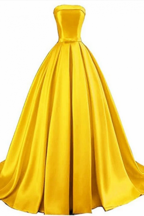 Beautiful Satin Ball Gown Sweet 16 Dress, Pretty Long Formal Gown