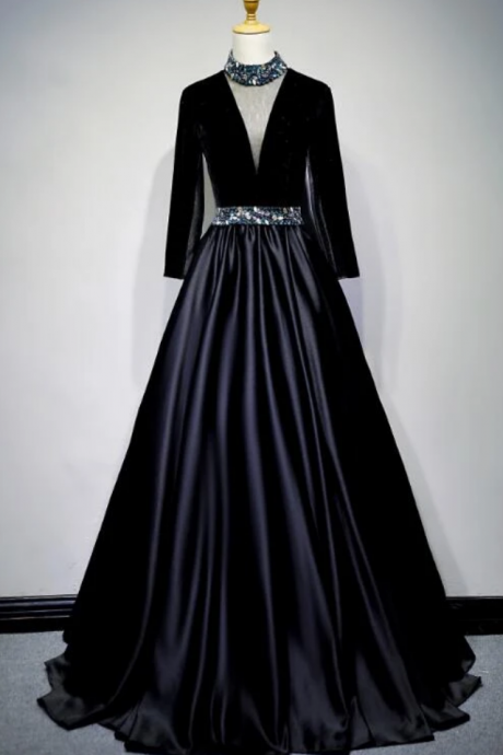 Black Satin And Velvet Long Sleeves Party Gown, Long Evening Dress