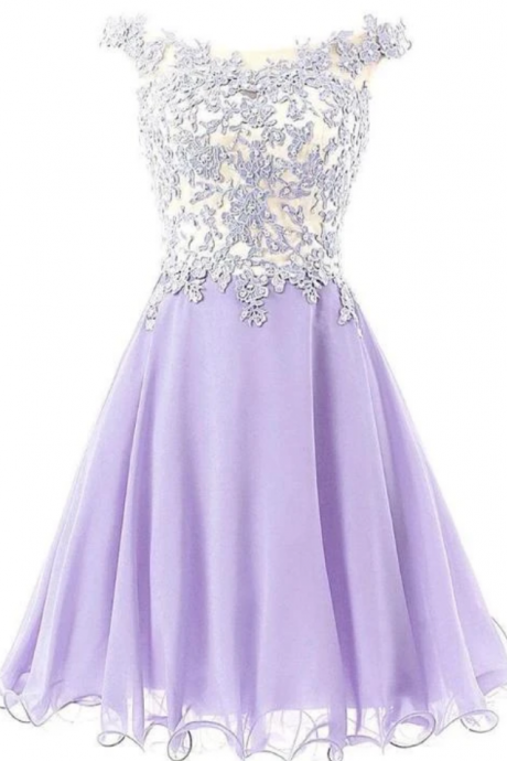 Chiffon And Lace Applique Party Dress, Short Prom Dresses
