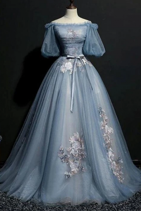 Tulle Puffy Sleeves Long Formal Gown, Prom Dress