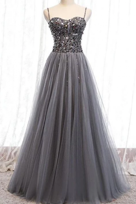 Beautiful Beaded Tulle Prom Dresses, Straps Party Dress