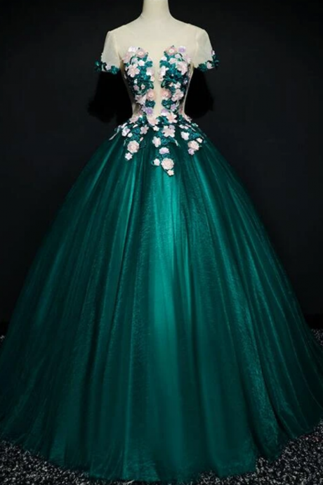 Tulle Round Neckline Ball Gown Formal Dress, Quinceanera Dress