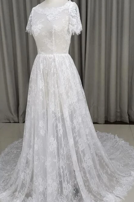 Beautiful Lace Short Sleeves See Through Wedding Dress, Long Party Dress