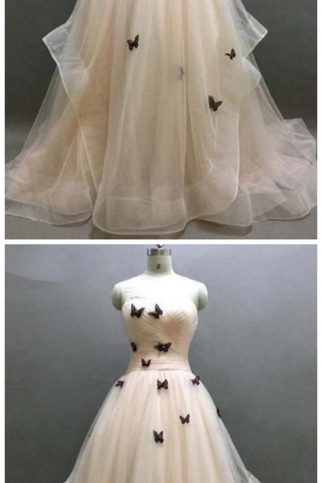 Sweetheart Ruffle Prom Dress, Beautiful Butterfly Appliques Lace Up Prom Dress, Prom Dresses