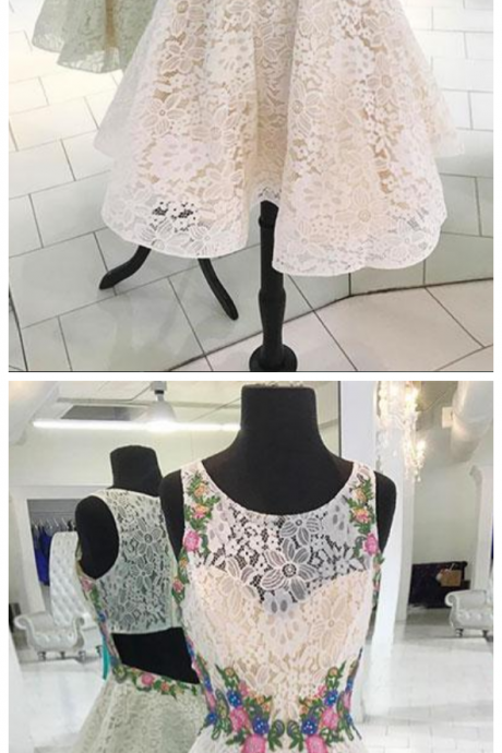 White round neck lace short prom dress, lace homecoming dress