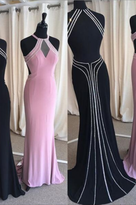 Sexy Prom Dress, Sheath Black/Pink Prom Dresses, Halter Evening Dress, Long Backless Evening Dresses, Satin Formal Dress