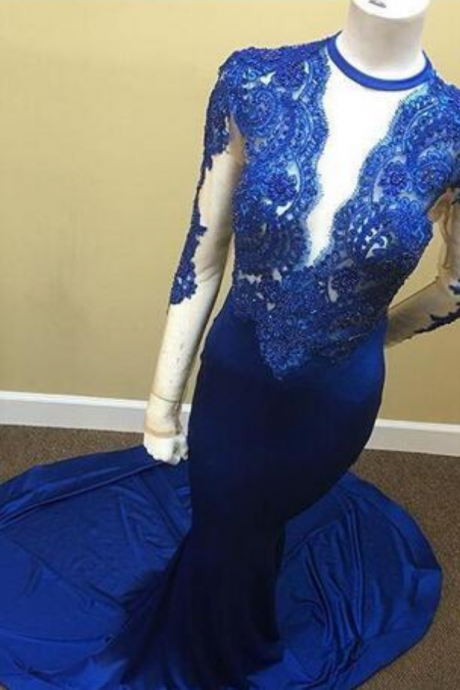 Sexy Royal Blue Mermaid Prom Dresses Lace V Neck Sheer Appliques Sheer Long Sleeves Formal Evening Party Dress Custom Made