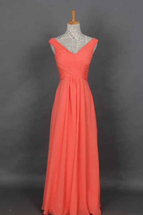 Chiffon Prom Dress, Coral Straps V-neck Long Prom Dresses, Evening Dress, Party Dress