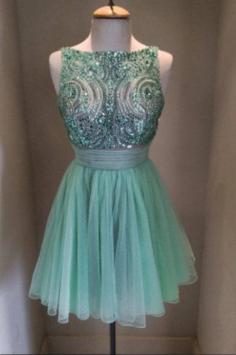 Green Tulle Homecoming dress, Rhinestone Prom dresses, Beading Party dresses, Cute Prom dresses, Short Homecoming dresses