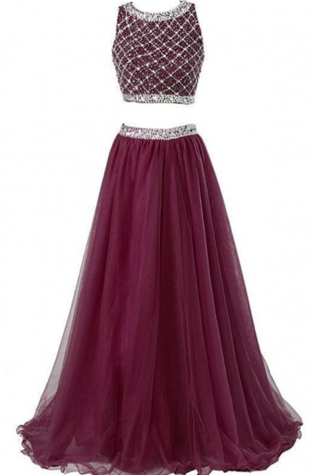 Charming Evening Dress,Two Piece Long Prom Dresses With Sleeveless Sequined Top