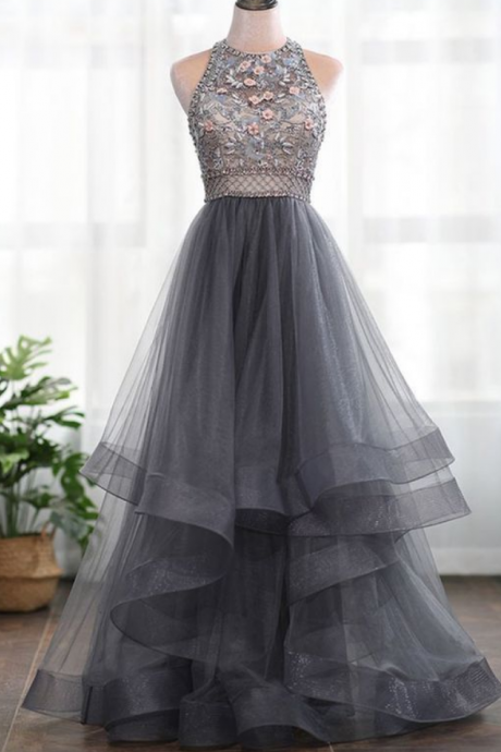 A-line 3D Flowers Backless Beading High Neck Tulle Long Prom Dress