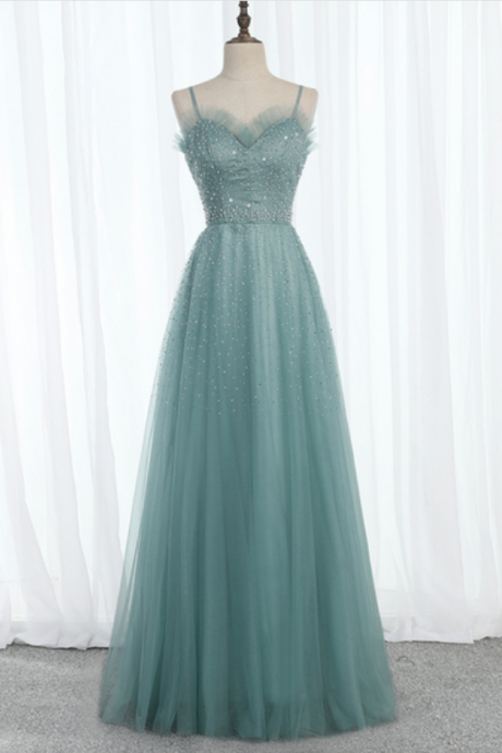 Green Tulle Sweetheart Long Beaded Prom Dress, Evening Dress, Party Dress