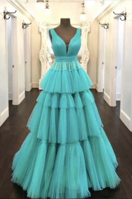 Unique Long Tulle V Neck Long Formal Dress Multi-Layered Evening Gown