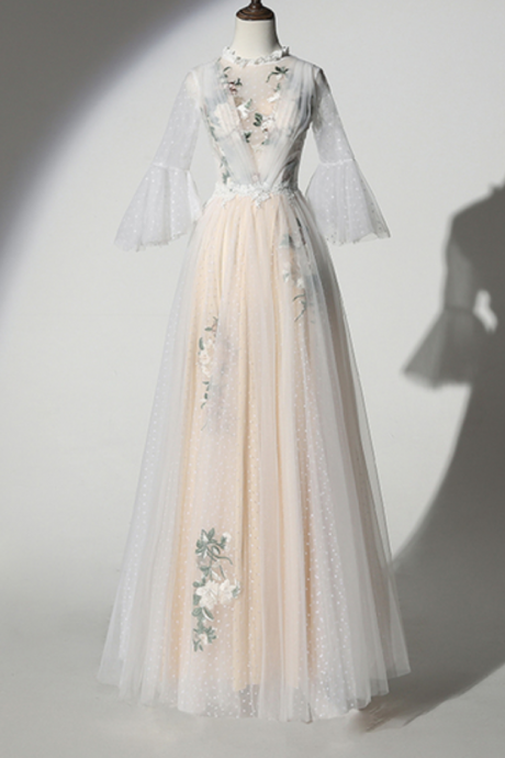 White Dotted Tulle Embroidery Lace O Neck Long Prom Dress With Sleeve