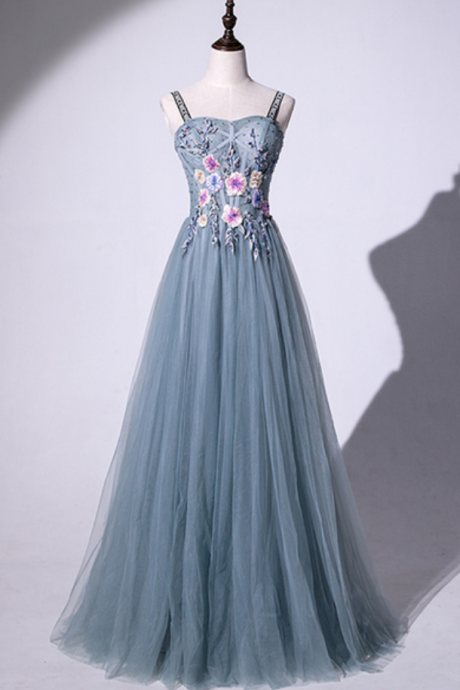 Blue Gray Tulle Sweetheart 3D Lace Applique Long Senior Prom Dress