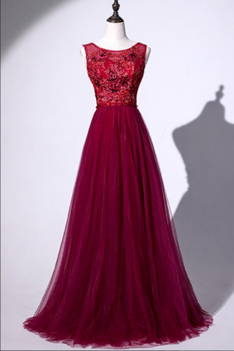 Unique Burgundy Tulle Lace Open Back Long Prom Dress