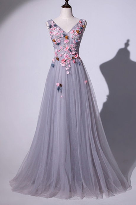 Gray Tulle V Neck 3D Lace Applique Long Prom Dress, Formal Dress