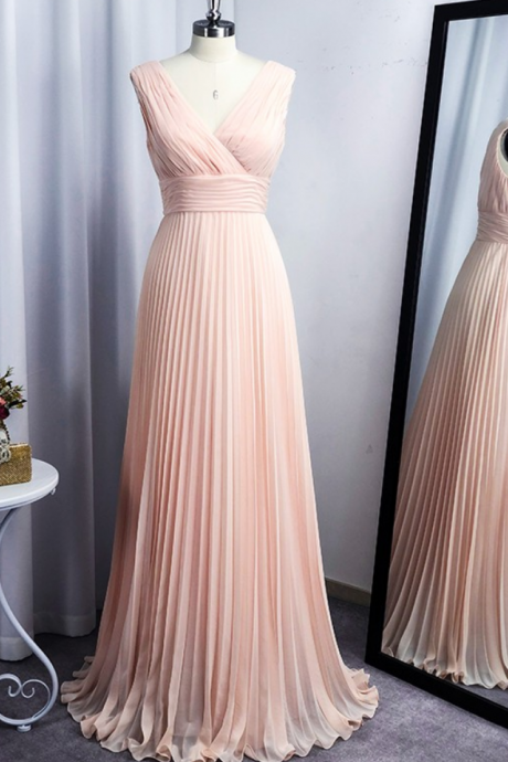 A-Line/Princess Chiffon V-neck Floor-Length Sleeveless Ruffles Dresses