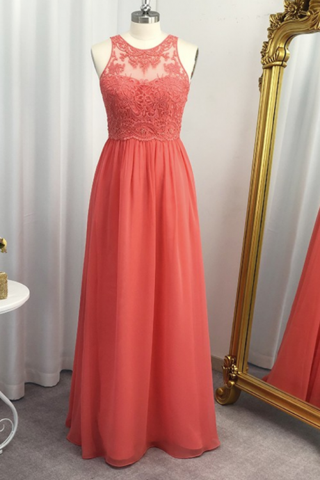 A-Line/Princess Chiffon Applique Scoop Floor-Length Sleeveless Dresses
