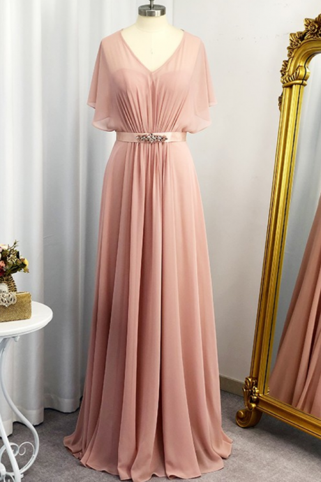 A-Line/Princess Sweetheart Short Sleeves Chiffon Sash/Ribbon/Belt Floor-Length Dresses