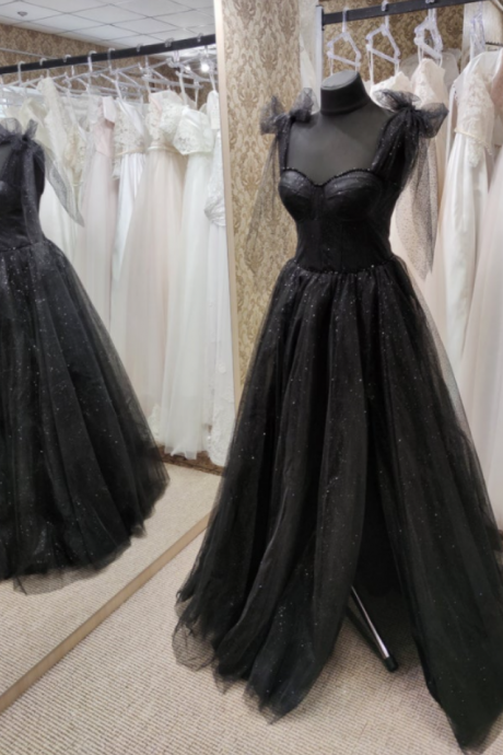 Black Tulle Dress, Sleeveless Evening Dress, Black Evening Gown, Black Party Dress, Wedding Guest Dress, Corset Dress