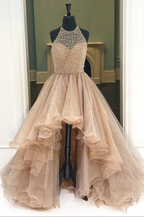 Prom Gown,Champagne High Low Tulle Prom Dress Featuring Halter Neck Bodice