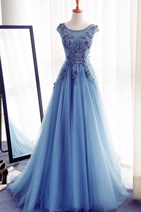 Blue Floor Length Tulle A-Line Prom Gown Featuring Floral Appliqués Bateau Neck Bodice and Cap Sleeves