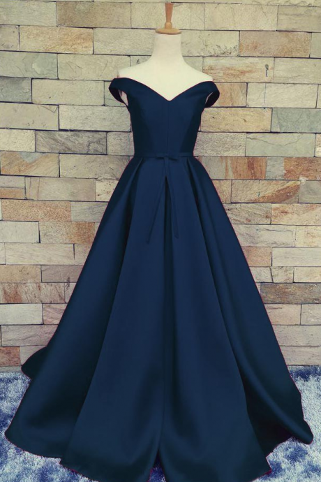 Charming Dark Navy Blue A Line Prom Dresses Satin Off The Shoulder Evening Gowns With Belt