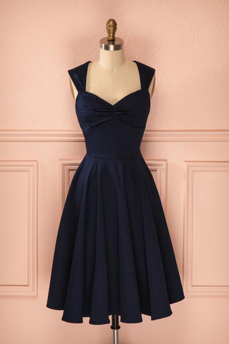 Homecoming Dresses,Sexy Short Navy Blue V Neck Satin Prom Dress , Graduation Dresses ,Party Dresses,Short Evening Dresses, Short Prom Dress