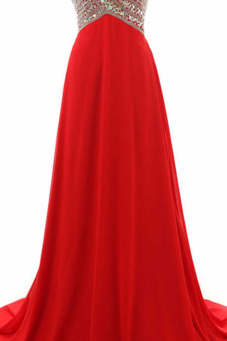 Straplesss Red Chiffon Prom Dresses With Rhinestone,Sexy Sweetheart Chiffon Evening Gowns