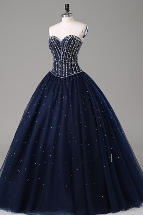 Navy Blue Strapless Sweetheart A-line Floor-length Prom Gown with Crystal Embellished Bodice and Lace-Up Back